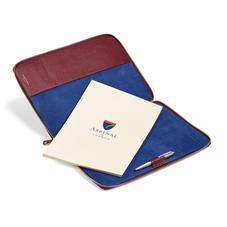 Executive A4 Zipped Padfolio in Burgundy Saffiano