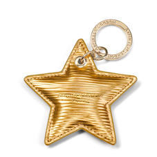 Star Leather Keyring in Zoloto Metallic