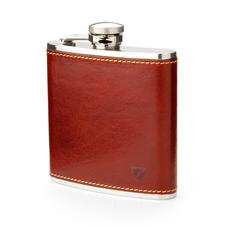 Classic 5oz Leather Hip Flask in Smooth Cognac