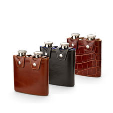 Double 6oz Leather Hip Flask