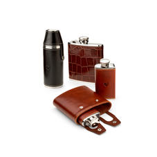Engraved Leather Hip Flasks