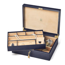 Grand Luxe Jewellery Case in Midnight Blue Silk Lizard