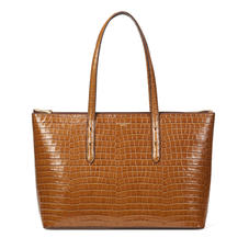 Zipped Regent Tote in Deep Shine Vintage Tan Small Croc