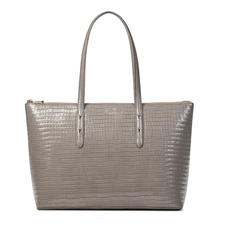 Zipped Regent Tote in Deep Shine Warm Grey Small Croc