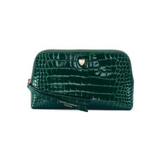 Small Essential Cosmetic Case in Evergreen Patent Croc