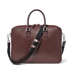 Small Mount Street Laptop Bag in Brown Saffiano & Smooth Brown