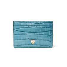 Slim Credit Card Holder in Deep Shine Cornflower Small Croc