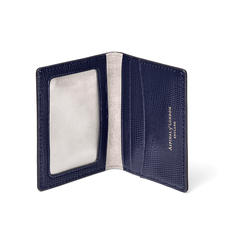 ID & Travel Card Holder in Midnight Blue Silk Lizard