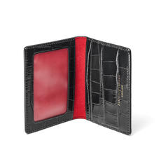 ID & Travel Card Holder in Deep Shine Black Croc