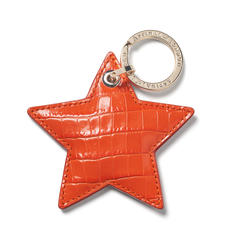 Star Leather Keyring Deep Shine Amber Small Croc