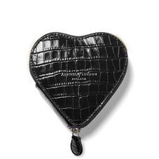 Heart Coin Purse in Deep Shine Black Small Croc
