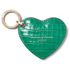 Heart Keyring in Deep Shine Emerald Green Small Croc