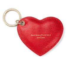 Heart Key Ring in Red Lizard