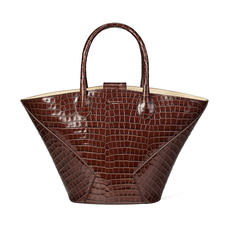 Matilda Tote in Deep Shine Chestnut Small Croc