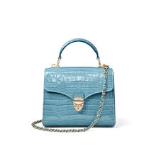 Midi Mayfair Bag in Deep Shine Cornflower Small Croc
