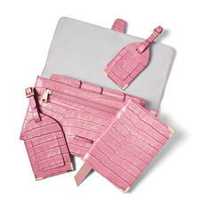 Travel Collection with Removable Inserts in Deep Shine Tea Rose Small Croc