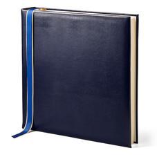 14-inch Lizard Print Leather Photo Album in Midnight Blue Silk Lizard