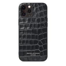 iPhone 12 Pro Max Case in Deep Shine Black Small Croc