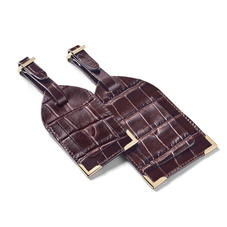 Set of 2 Luggage Tags in Deep Shine Amazon Brown Croc