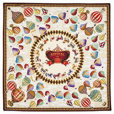 Hot Air Balloon Silk Scarf in Chestnut Pure Silk Twill