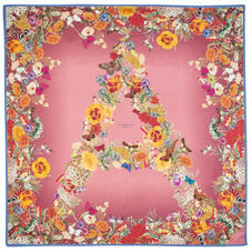 Ombre 'A' Floral Silk Scarf in Pink