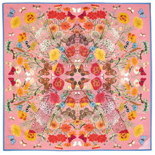 Botanical 'A' Silk Scarf in Dusky Pink