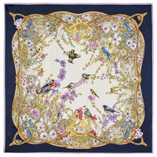 Edwardian Garden Silk Scarf in Navy Pure Silk Twill