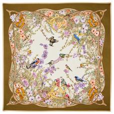 Edwardian Garden Silk Scarf in Olive Pure Silk Twill