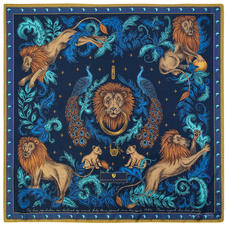Lion & Peacock Silk Scarf in Teal & Navy