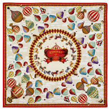 Hot Air Balloon Silk Scarf in Red Pure Silk Twill
