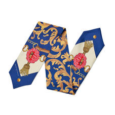 Signature Shield Silk Neck Bow Scarf in Blue