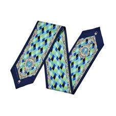 Harlequin Cherub Neck Bow Scarf in Blue Pure Silk Twill
