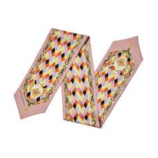 Harlequin Cherub Neck Bow Scarf in Pastel Pink Silk Twill