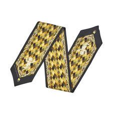 Harlequin Cherub Neck Bow Scarf in Neutral Pure Silk Twill