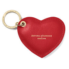 Heart Key Ring in Scarlet Saffiano