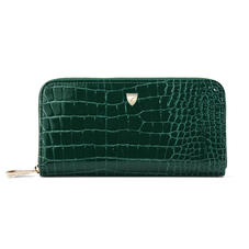 Continental Purse in Evergreen Patent Croc