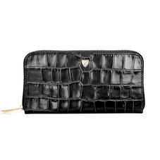 Continental Purse in Deep Shine Black Croc