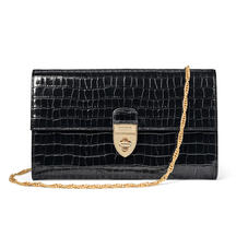 Mayfair Clutch in Deep Shine Black Small Croc