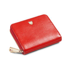 Slim Mini Continental Purse in Scarlet Silk Lizard