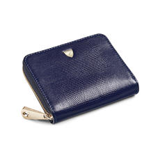 Slim Mini Continental Purse in Midnight Blue Silk Lizard