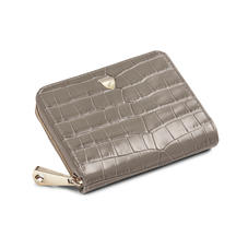 Slim Mini Continental Purse in Deep Shine Warm Grey Small Croc