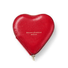 Heart Coin Purse in Scarlet Silk Lizard