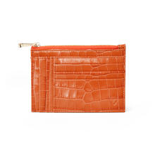 Double Sided Zipped Card & Coin Holder in Deep Shine Marmalade Small Croc