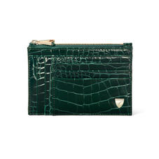 Double Sided Zipped Card & Coin Holder in Evergreen Small Croc