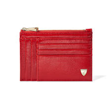 Double Sided Zipped Card & Coin Holder in Scarlet Silk Lizard