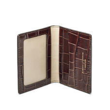 ID & Travel Card Holder in Deep Shine Amazon Brown Croc