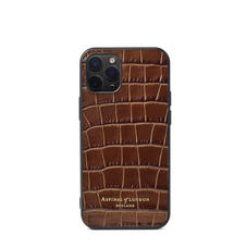 iPhone 12 Mini Case in Deep Shine Chestnut Small Croc