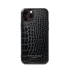 iPhone 12 / 12 Pro Case in Black Patent Croc