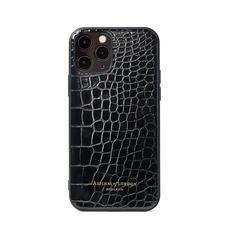 iPhone 12 / 12 Pro Case in Black Patent Croc