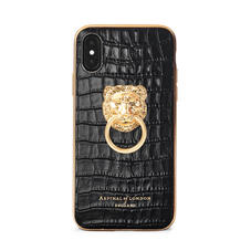 Lion iPhone Xs Case in Deep Shine Black Small Croc